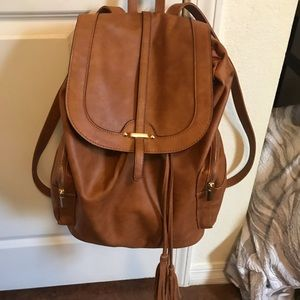Camel Pleather Fashion Backpack